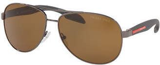 Prada Men's Metal Aviator Double-Bridge Sunglasses