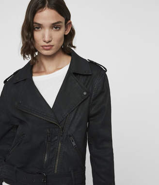 AllSaints Micah Coated Denim Biker Jacket