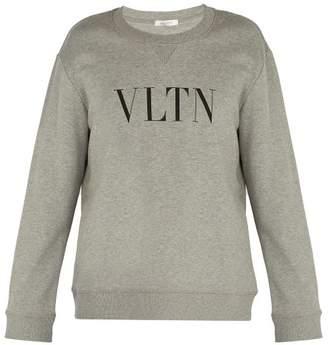 Valentino Vltn Logo Print Cotton Blend Sweatshirt - Mens - Grey