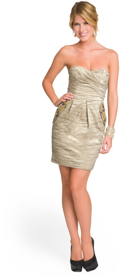 Matthew Williamson Metallic Embellished Pocket Dress