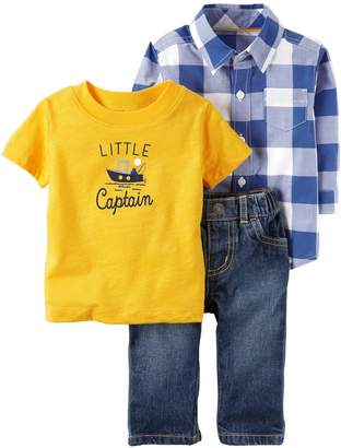 "Carter's Baby Boy Checkered Shirt, ""Little Captain"" Tee & Jeans Set"