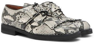 Dries Van Noten Snake-Effect Leather Kiltie Derby Shoes