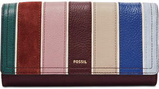 Fossil Logan Leather & Suede Flap Wallet