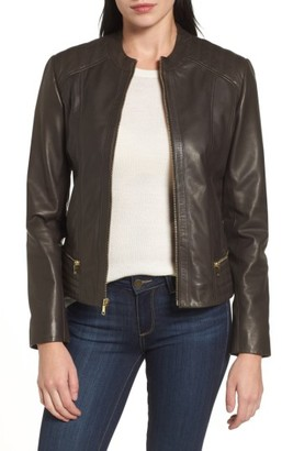 Women's Cole Haan Leather Moto Jacket $498 thestylecure.com