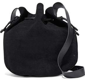 Halston Leather-Trimmed Suede Bucket Bag
