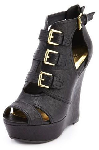 PeepToe Triple Buckle Peep-Toe Wedge Bootie