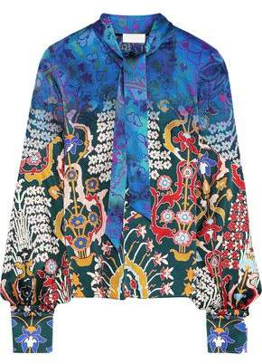 Peter Pilotto Tie-neck Printed Hammered Stretch-silk Blouse