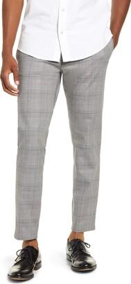 Topman Check Crop Stretch Dress Pants
