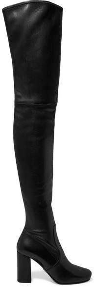 Prada - Leather Over-the-knee Boots - Black