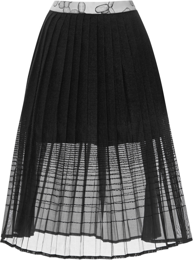 Ostwald Helgason Pleated Tweed and Organza Degradé Skirt