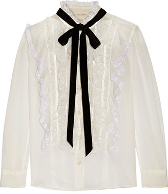 Marc Jacobs - Pussy-bow Ruffled Lace-trimmed Cotton-voile Blouse - Ivory $395 thestylecure.com