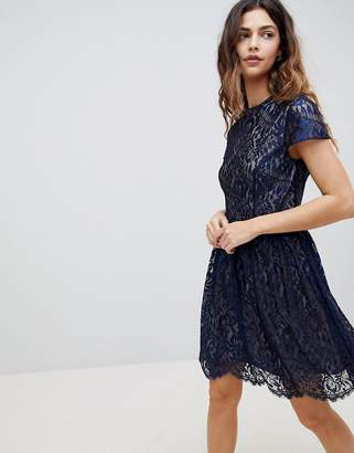 Oasis Lace High Neck Skater Dress