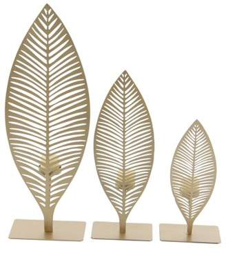 DecMode Decmode Set of 3 modern 10, 13, and 18 inch gold iron cut-out leaves votive candle holders, Gold