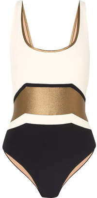 Zeus+Dione ZeusDione - Zakynthos Metallic Color-block Swimsuit - Ivory