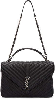 Saint Laurent Black and Gunmetal Large College Bag