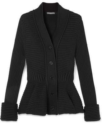 Alexander McQueen Ribbed Wool Peplum Cardigan - Black