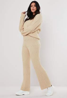 Missguided Plus Size Beige Co Ord Cable Knit Flared Trousers