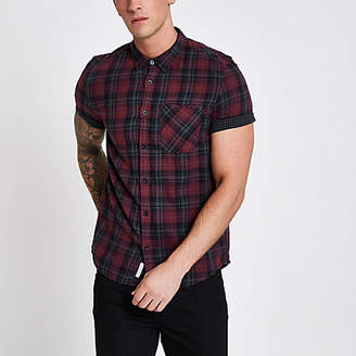 River Island Mens Burgundy check double face short sleeve shirt