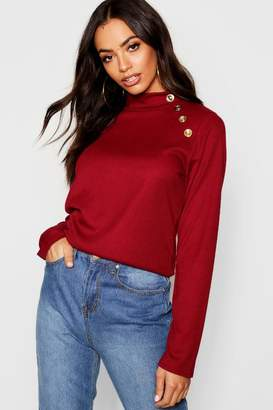 boohoo Gold Button Turtle Neck Top
