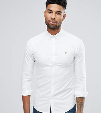Farah TALL Skinny Fit Button Down Oxford Shirt In White