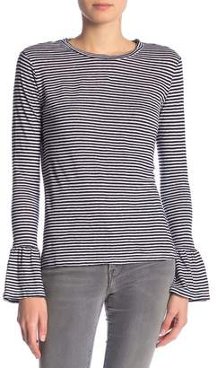 Frame Striped Ruffle Cuff Long Sleeve Linen Shirt