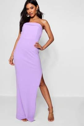 boohoo Bandeau Fold Over Column Maxi Dress