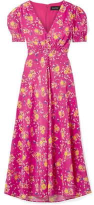 Saloni Lea Floral-print Silk Crepe De Chine Midi Dress - Fuchsia
