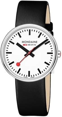 Mondaine Women's 'SBB' Swiss Quartz Stainless Steel and Leather Casual Watch, Color Black (Model: MSX.3511B.LB)