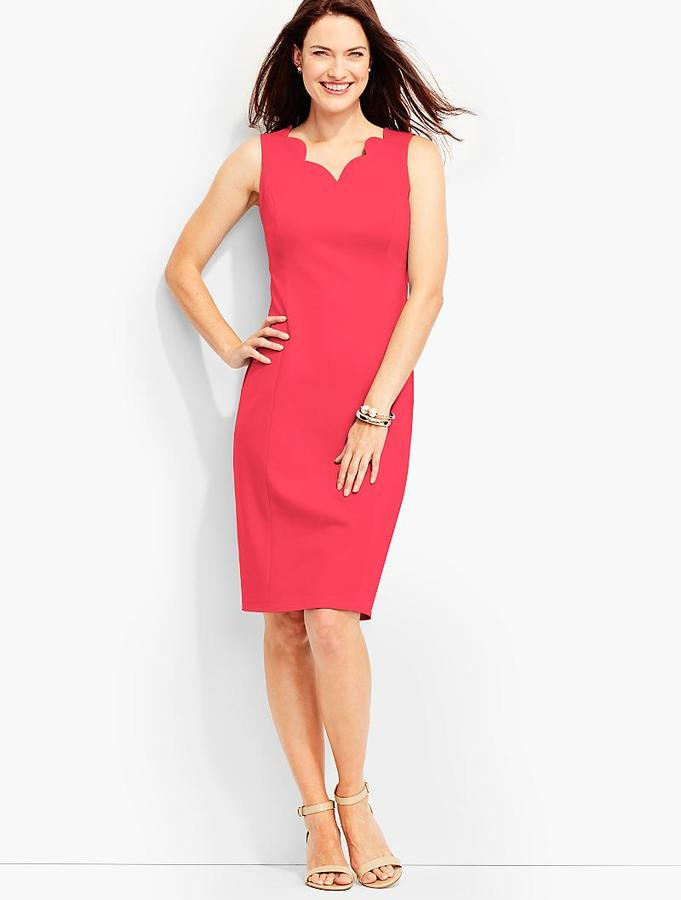 Scalloped Ponte Sheath
