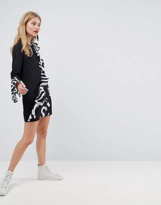 Asos MADE IN Made In Kenya Frill Shift Dress In Mixed Print