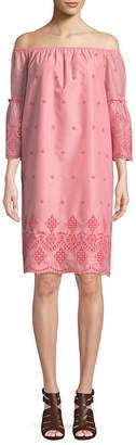 ST. JOHN'S BAY 3/4 Sleeve Embroidered Shift Dress