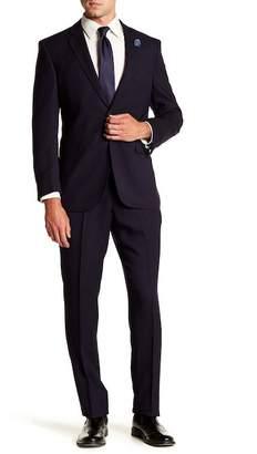Perry Ellis Navy Stripe Two Button Notch Lapel Slim Fit Suit
