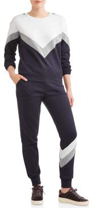 Eye Candy Juniors' Chevron Colorblock Pullover Sweatshirt & Jogger Bundle
