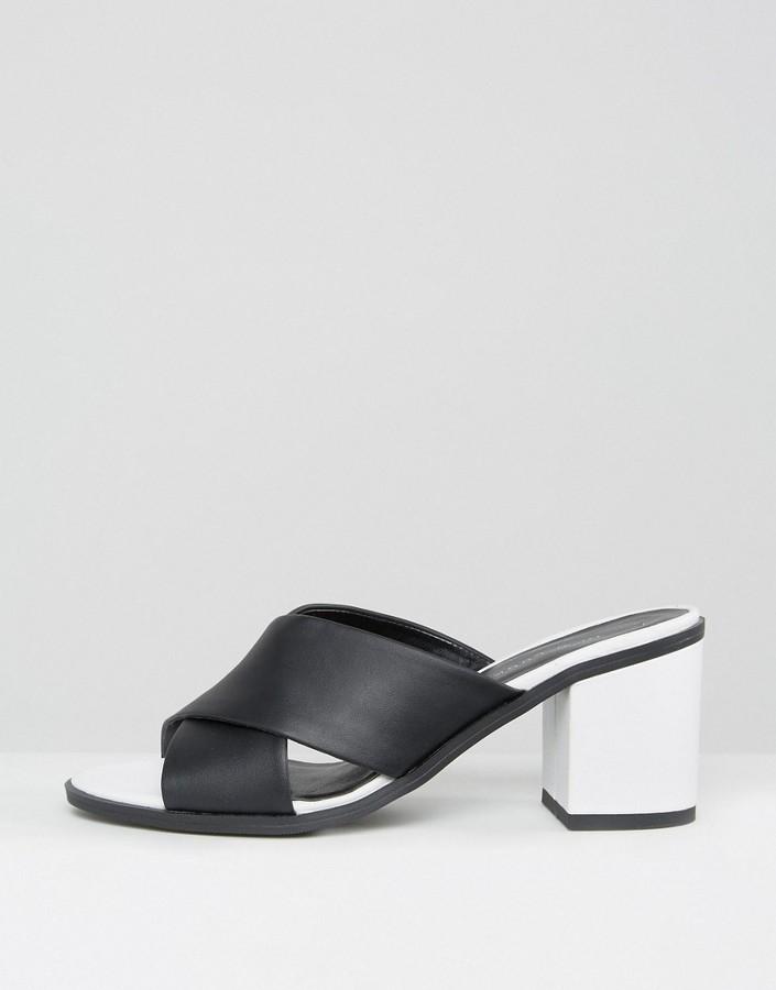 New Look Leather Look Cross Strap Heeled Mule