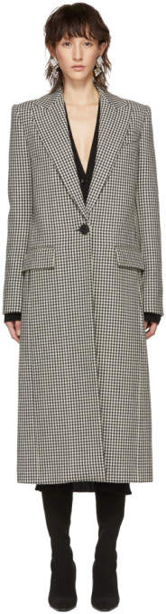 Black and White Houndstooth Single-Breasted Coat