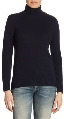 Ralph Lauren Collection Iconic Buttoned Cashmere Turtleneck Sweater