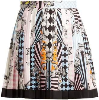 Versace Harlequin-print silk skirt