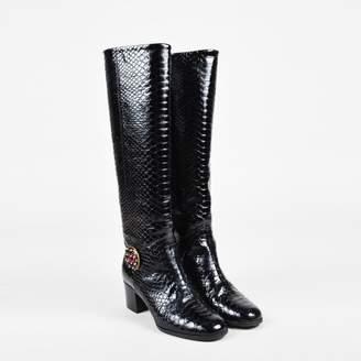 Chanel Black Python Boots