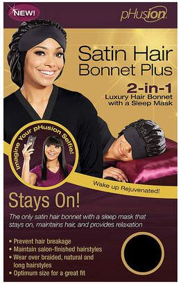 PHUSION Phusion Luxury Hair Bonnet Plus Black Mc Hair Wrap