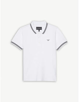 Armani Junior Logo cotton-blend polo shirt 4-16 years
