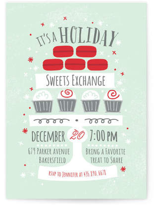 Cupcake Stand Holiday Party Invitations