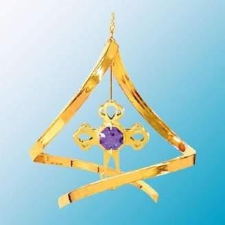 Swarovski Crystal Delight by Mascot 24K Gold Cross Spiral Ornament - Purple Crystal