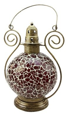 "Northlight 12"" Decorative Red and White Mosaic Glass Tea Light Candle Holder Doom Lantern"