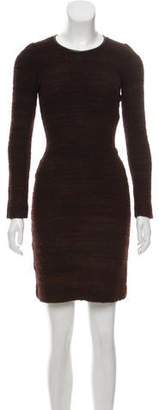Etoile Isabel Marant Leather-Trimmed Long Sleeve Dress
