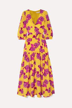 Borgo de Nor Salma Wrap-effect Floral-print Crepe Maxi Dress - Yellow