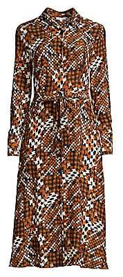 Equipment Women's Relle Graphic Plaid Silk Midi Shirtdress