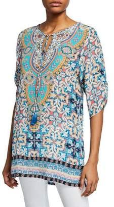 a113cc7bae6e5c Tolani Amalfi Tile-Print 3 4-Sleeve Long Silk Tunic