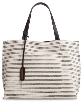 Street Level Reversible Stripe & Faux Leather Tote - Black $48 thestylecure.com
