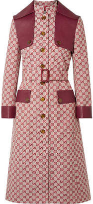 Gucci Leather-trimmed Belted Cotton-blend Canvas Trench Coat - Red