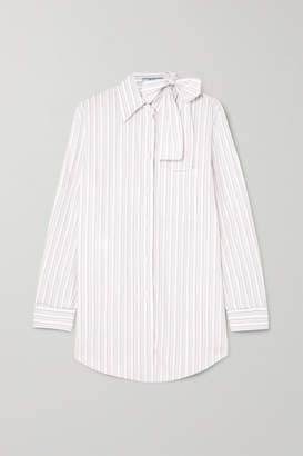 Prada Pussy-bow Striped Cotton-poplin Shirt - White